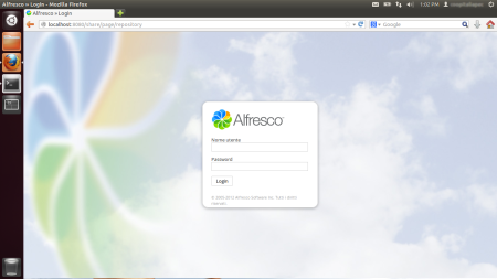 Alfresco Share Login page