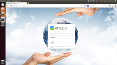 Alfresco Share Login page with backuground